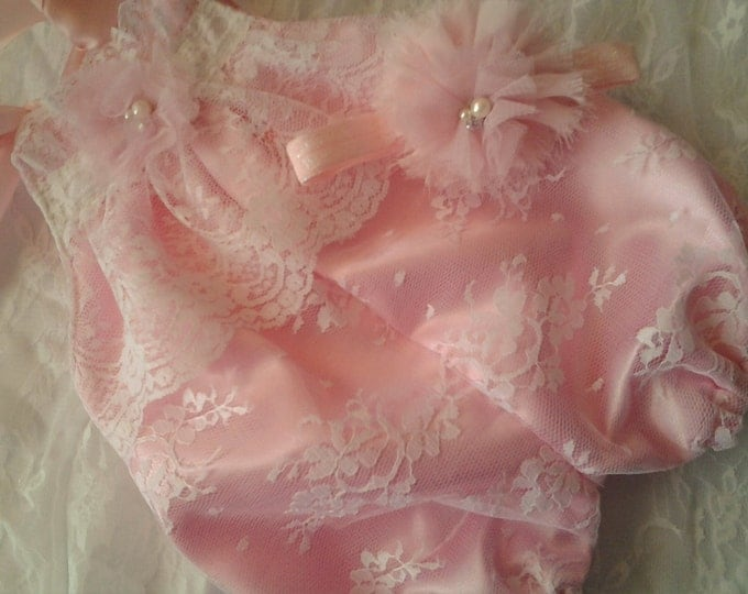 Newborn Baby Girls' White Lace and Pink Bubble Romper set Coming home outfit
