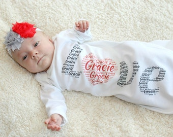 Baby Girl Newborn Gift Baby Girl Take Home Outfit Personalized Baby Clothes Gown Love Black Red  Baby Outfit