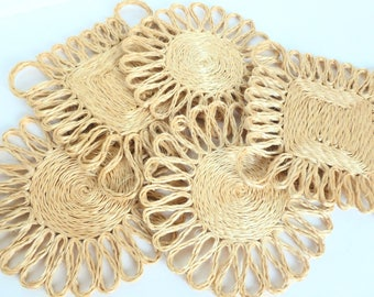 Woven Trivets Hot Pads Coasters Wall Hangings Lot Squares and Circles Natural Raffia Grass Straw