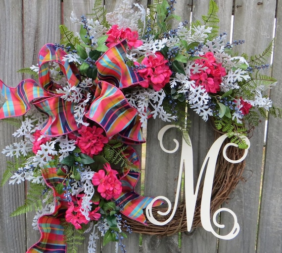 Spring / Summer Door Wreath, Monogram Wreath, Gift Wreath, Wreath for Spring and Summer, Coral Pink Wreath, Front Door Decor