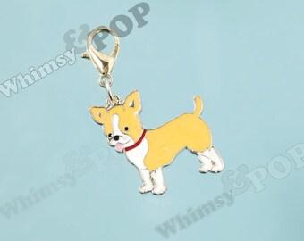1 - Chihuahua Dog Enamel Charm, Dog Charm, Chihuahua Charm, 25mm x 26mm (R8-107)