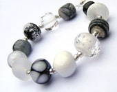 Lampwork glass bead set of 12 renegade orphan beads in black, white, and grey (gray)