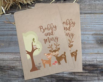 Woodland Creatures Buck and Doe Brown Kraft Bags, Engagement Favor Bags, Forest Animals Wedding Favor Bags-Deer Favor Bags-Wedding Chip Bags