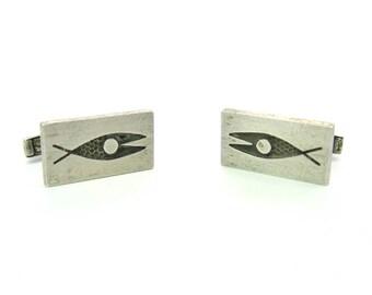 Modernist Silver Cuff Links. Mens Fish Cufflinks. Oxidized Hammered Sterling Silver. Designer Fithian. Vintage 1950s Mid Century Modern
