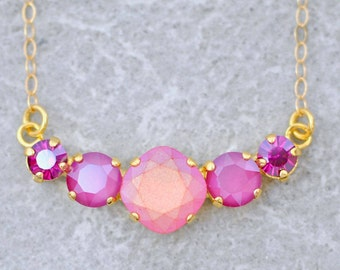 Hot Pink Fuchsia Necklace Swarovski Cluster Necklace Crystal Rhinestone Mini Statement Necklace Pink Rainbow Pastel Peony Petite Bridesmaid