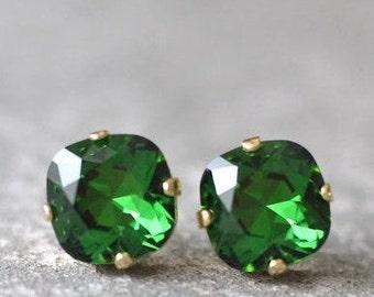 Moss Green Stud Earrings Swarovski Earrings Rounded Square Dark Emerald Stud Earrings Diamond Earrings Green Bridesmaids Irish Clover Bride