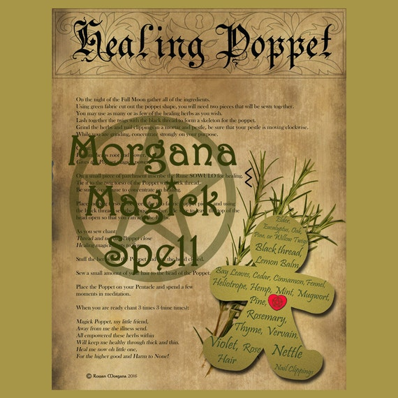HEALING POPPET with PATTERN , Digital Download, Book of Shadows Page,Grimoire,  Wicca, Pagan, Witchcraft, White Magick, Magick Spell