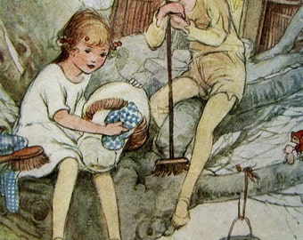 Vintage 1920s book print - Peter Pan and Wendy - classic nursery decor - when Wendy grew up