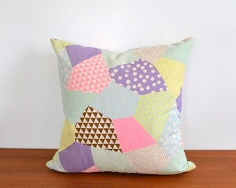 "Neon Patchwork Print Throw Pillow Cover 16"" x 16"""