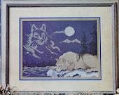 Cross Stitch Pattern NIGHT WATCH Wolf Silhouette - fam