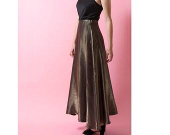 Vintage 90s Bronze Metallic Maxi Skirt
