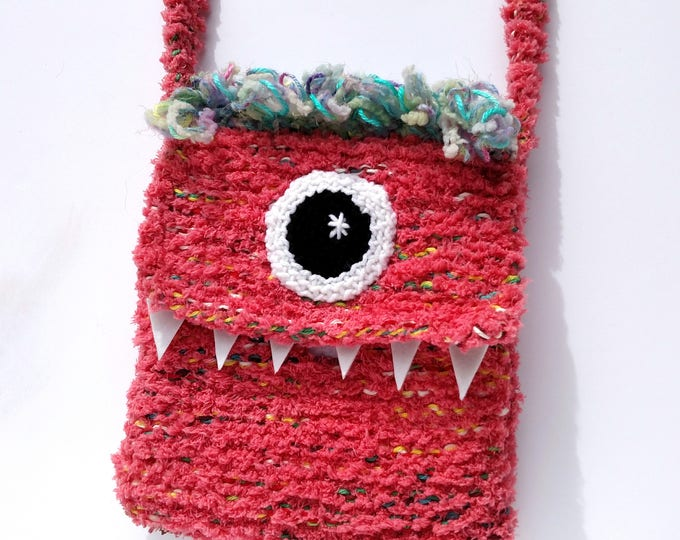 Silly Cyclops Hand Knit Bag - Pink and Orange