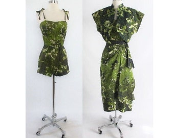 Vintage 1950's Hawaiian  / Kamehameha / Hawaiian Rhinestone Playsuit / Swimsuit Bolero Sarong Skirt 3 Piece Set XS