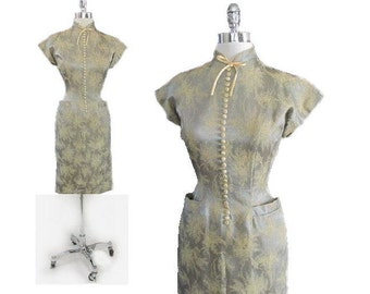 Vintage 50's Silver Satin Atomic Yellow Floral Chinese Modern Asian Inspired Wiggle Dress S