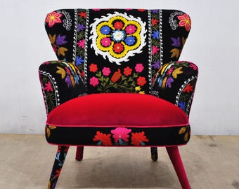 Suzani Armchair - spring flowers I