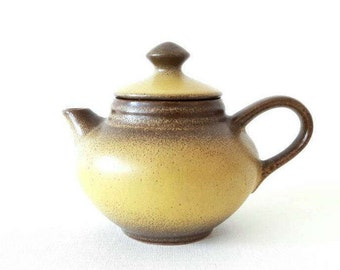 Vintage Small Tea Pot in Mustard and Bown