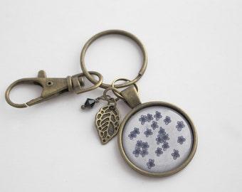 Blue Flowers Keychain - Key Holder - Blue Flowers - Botanical - Jump Ring - Organizer - Illustrated Keychain