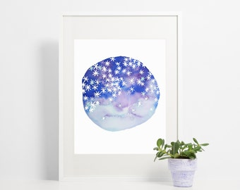 Watercolor Astrology Art Print / Twinkle Art Constellation Purple Blue and Sky / Abstract Minimalist Art Poster