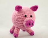 Pink Piggy Crochet Amigurumi with Curly Tail, Stuffed Toy Pig, Carnation Pink Pig, Collectors Item, Mini Stuffed Pink Pig