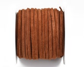 """1/8"""" Suede Leather Lace, MEDIUM BROWN, real leather by the yard, Realeather made in USA, 3mm wide, 25 yards, Lth0023"""