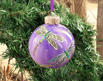 Hand painted Ornament, purple dragonfly ornament no320