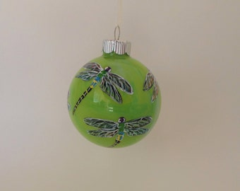 Hand painted dragonfly ornament, personalized , lime green swirl 359