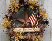 Patriotic Wreath, Americana Wreath, Fourth of July Wreath, Memorial Day, Liberty Bell, Primitive Patriotic, Betsy Ross Tea Stained Flag