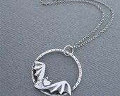 Bat in the Moon Necklace, Bat in Hoop, Silver Bat Necklace, Flying Bat Necklace