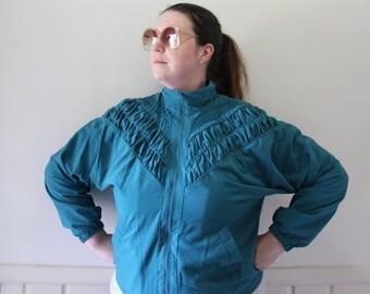 Vintage Teddi Brand Teal Gathered Chevron Windbreaker Jacket 1980s