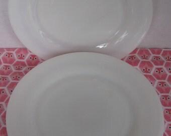 Milk Glass Dessert Plate Set, Set of Four (4), Salad Plates