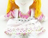cloth doll-handmade rag doll-fabric doll-hand made rag doll-ragdoll-little girl toy doll-baby toddler toy NF264