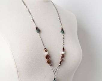 Greek Pendant Necklace, Aqua, Pendant Necklace, Bohemian, Boho Necklace, Turquoise, Pearl, One of A Kind, Tuesday Collection