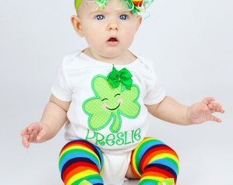 St. Patrick's Day Baby Outfit, St Patrick's Day Baby -- Lucky Leprechaun -- Shamrock bodysuit, leg warmers and bow/headband