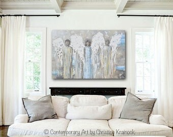ORIGINAL Art Abstract Angel Painting Oil Painting Home Decor Mothers Day Gift Wall Decor Guardian Angels Grey Gold Blue - Christine Krainock