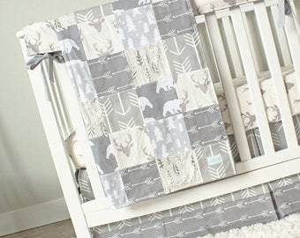 Grey Woodlands Nursery Baby Bedding Set, Bear, Deer, Arrows, Tree, Minky Patchwork Blanket, Crib Sheet, Crib Skirt, Rail Teething Guard