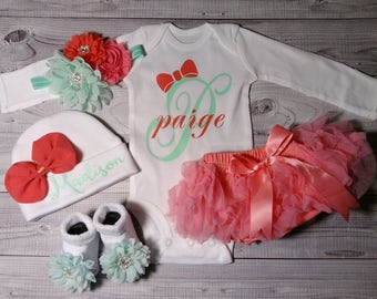 baby girl, coming home outfit, newborn, take home outfit, girl, newborn, name, outfit, going home outfit, baby girl clothes, personalized