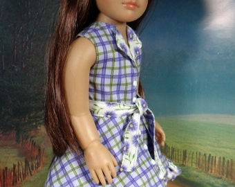 Reversible dress in purple and green for slim 18 inch dolls like Kidz N Cats
