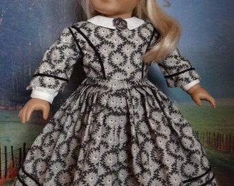 Civil War era day dress for American Girl or similar 18 inch doll