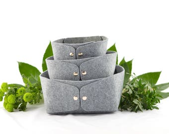 Storage baskets set of 3, low gray felt storage bin, felt bin, fruit bowl, storage box, storage bin, jewelry storage, set of storage boxes