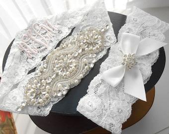 Wedding Garter Set MONOGRAM OPTION Lingerie Lace Rhinestones and Pearls Setting Bridal Garter Set