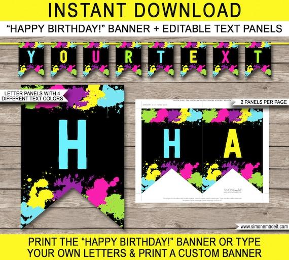 Neon Glow Party Banner Happy Birthday Banner Custom Banner