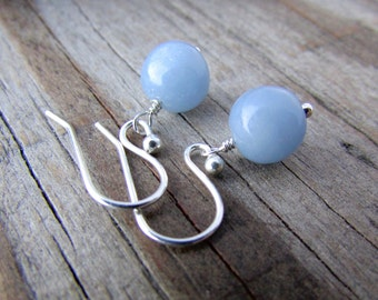 Angelite Earrings, blue anhydrite, pale blue gemstone earrings, dangle earrings