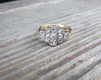Art Deco Rose Cut Diamond Ring in Platinum and 18k Yellow Gold