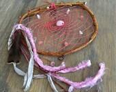 Dream Catcher , rose quartz stones , natural willow