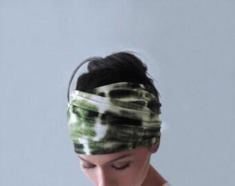TIE DYE Yoga Headband - Olive Green and White Hair Wrap - Hand Dyed Bohemian Headband - Boho Hair Accessories - Extra Wide Head Scarf