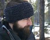 Wool Headband in Charcoal - Thermal Ear Warmer for Him - Leather Tag - Unisex Winter Headband