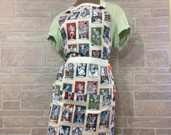 Loteria game apron, Day of the dead apron, Mexican card game apron, Novelty apron, Hostess apron, Chef apron, Baker apron