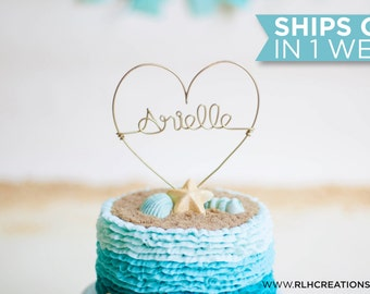 Custom Name Cake Topper / Wire Cake Topper / Heart Cake Topper / Personalized Cake Topper / Baby Birthday / Kid Birthday / Smash Cake