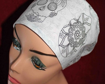 Black and White Sugar Skulls Surgical Cap (biker/chemo/surgical)