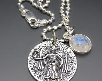 Sterling Silver Guardian Angel Coin Necklace / Greek Goddess Necklace / Protection Charm / Graduation Gifts / Teen Gift Ideas / Angel Charm
